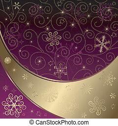 Christmas purple-gold frame