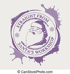 Christmas purple print with a silhouette of Santa Claus with big blots.