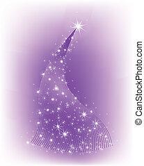Christmas purple tree with stars