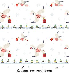 Christmas quirky seagulls with gifts seamless pattern. Cute...