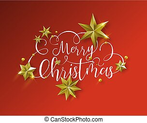 Christmas quote and gold stars over red background