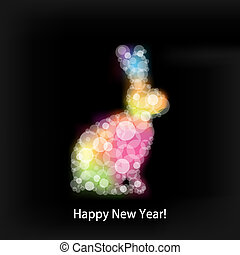 Christmas Rabbit, Isolated On Black Background, Vector...