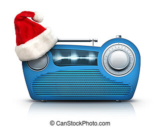 Christmas Radio - Old Style Radio on the White background. ...