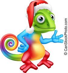 Christmas Rainbow Chameleon in Santa Hat Cartoon