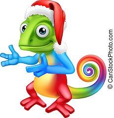 Christmas Rainbow Chameleon in Santa Hat Cartoon - A rainbow...