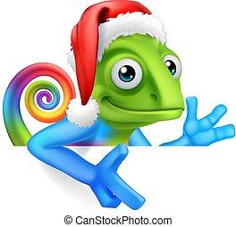 Christmas Rainbow Chameleon Santa Hat Sign Cartoon