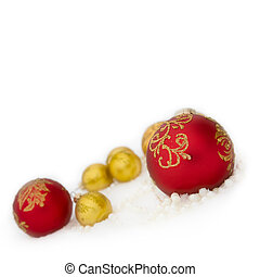 Christmas red and gold   ball,  beads in snow