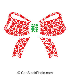 Christmas red and green bow icon ma