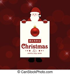 Christmas red background card with santa clause