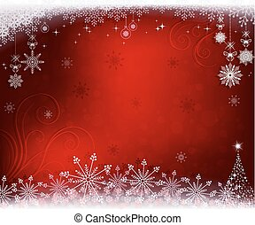 Christmas red background with a small Christmas tree