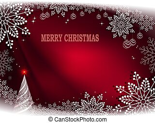 Christmas red background with abstract christmas tree and beautiful snowflakes