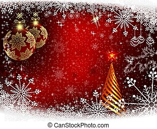 Christmas red background with an abstract golden Christmas tree.