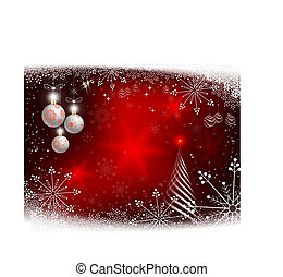 Christmas red background with an abstract striped Christmas tree.