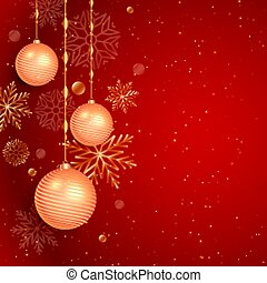 christmas red background with ball and snowflakes