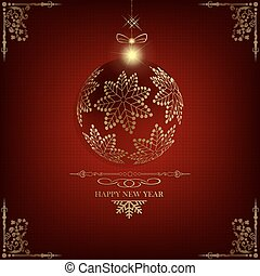 Christmas red background with ball