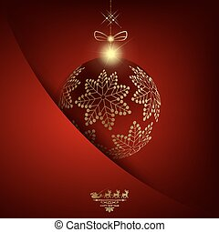 Christmas red background with ball with golden snowflakes