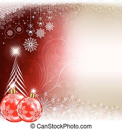 Christmas red background with balls and silhouette of Christmas tree