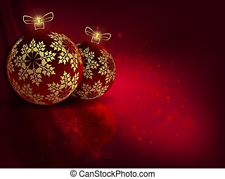 Christmas red background with beautiful balls with golden snowflakes