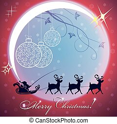 christmas red background with big bright moon