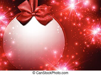 Christmas red background with bow.