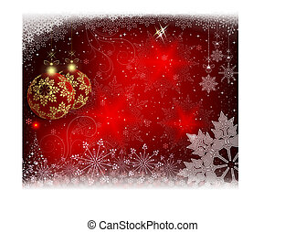 Christmas red background with burgundy balls and a Christmas small tree.