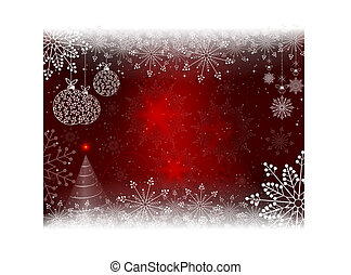 Christmas red background with christmas balls in retro style .