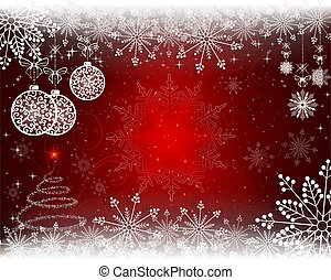 Christmas red background with christmas balls in retro style.