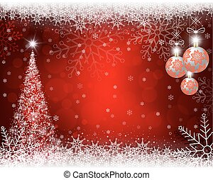 Christmas red background with Christmas tree, balls and snowflakes