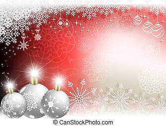 Christmas red background with Christmas white balls.