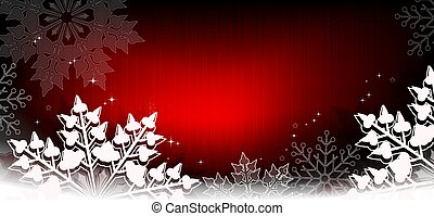 Christmas red background with gradient, gorgeous white snowflakes