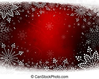 Christmas red background with lots of snow-white snowflakes