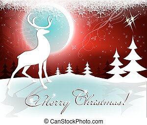 Christmas red background with moon and deer