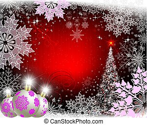 christmas red background with purple snowflakes, white balls and christmas tree