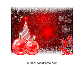 Christmas red background with red balls and snowflakes and a Christmas tree.