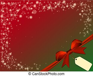Christmas red background with red bow in green corner