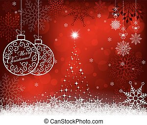 christmas red background with retro balls