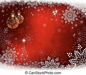 christmas red background with shiny Christmas tree