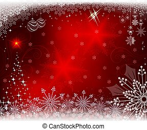 Christmas red background with shiny Christmas tree,