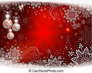 Christmas red background with shiny spruce, christmas balls and snowflakes.