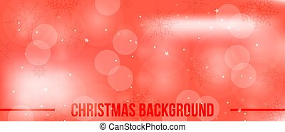 Christmas red background with snowflakes and bokeh. Vector illustration.