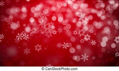 Christmas Red Background With Snowflakes Falling Snow