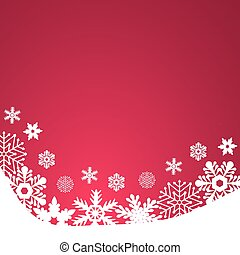 Christmas red background, with snowflakes vector illustration