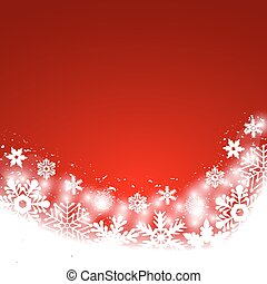Christmas red background, with snowflakes