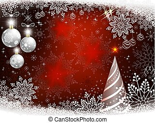 Christmas red background with spruce, white christmas balls and snowflakes.