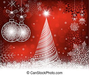 christmas red background with tree and balls in retro style