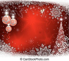 christmas red background with tree and three white balls