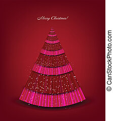 Christmas red background with tree. Vector