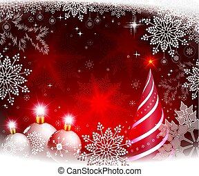 Christmas red background with white balls and an abstract Christmas tree.