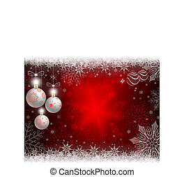 Christmas red background with white balls and snowflakes.