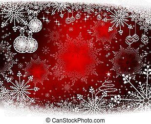 Christmas red background with white balls in retro style,